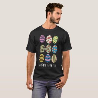 Happy Easter With Nine Colorful Eggs Holiday Tee