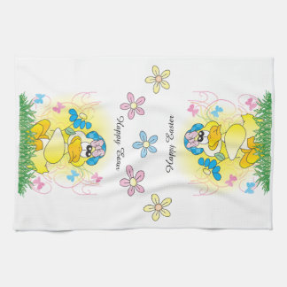 Happy Easter Yellow Ducky Seasonal Kitchen Towels