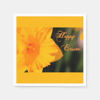 Happy Easter Yellow Spring Daffodil Flower Disposable Serviette