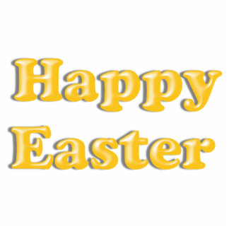 HAPPY EASTER Yellow Text Design Standing Photo Sculpture