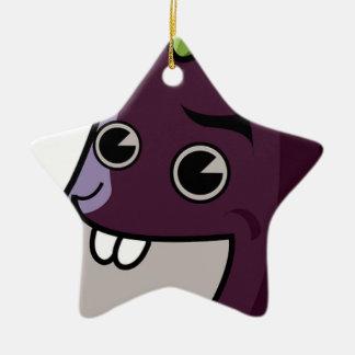 Happy Eggplant Ceramic Ornament