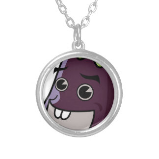 Happy Eggplant Silver Plated Necklace