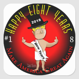 Happy Eight New Years Square Sticker