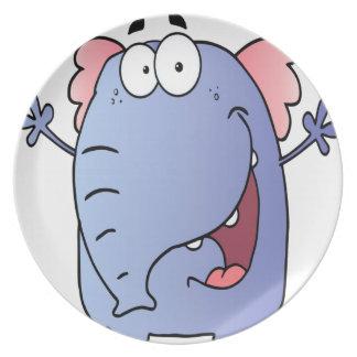 Happy Elephant Cartoon Character Party Plates
