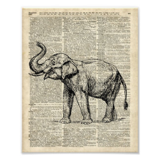Happy Elephant Over Vintage Dictionary Book Page Photo Print