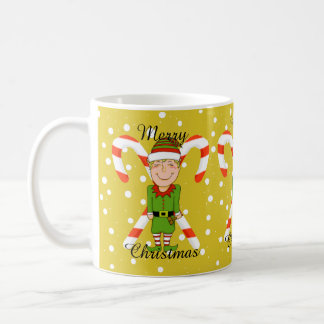 Happy Elf & Candy Canes Christmas Mug