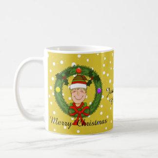 Happy Elf in Wreath Christmas Mug