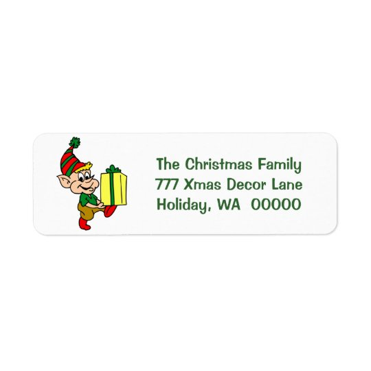 Happy Elf Merry Christmas Card Envelopes Address Return Address Label