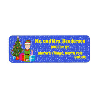 Happy Elf with Gifts Return Address Labels
