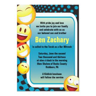 HAPPY EMOJI Bar Bat Mitzvah Invitation-in blue Card