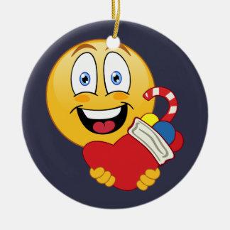 Happy Emoji Christmas Stocking Ornament
