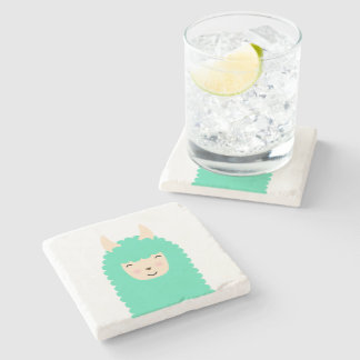 Happy Emoji Llama Coaster Stone Beverage Coaster