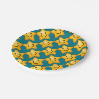 Happy Emoji Star 7 Inch Paper Plate