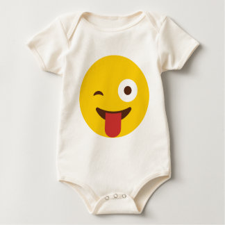 Happy Emoji with tongue out Baby Bodysuit