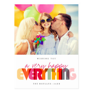 Happy Everything Colorful Holiday Photo Postcard