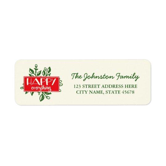 Happy Everything Holiday Return Address Labels