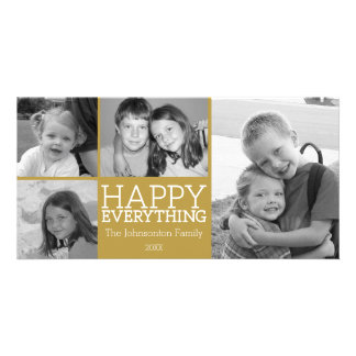 Happy Everything with 4 photo collage - Gold Photo Cards
