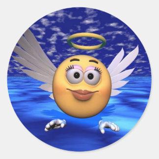 happy face angel round sticker