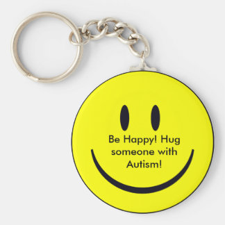 Happy Face, Be Happy! Hug someone with Autism! Key Ring