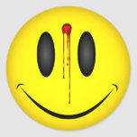 Happy Face Bullet Hole Round Stickers