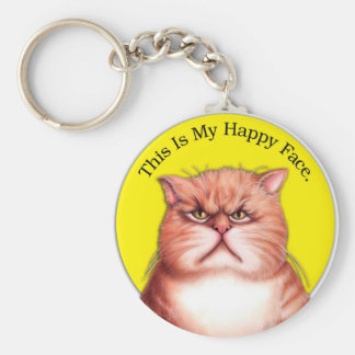Happy Face cat Key Ring