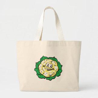 happy face cauliflower jumbo tote bag