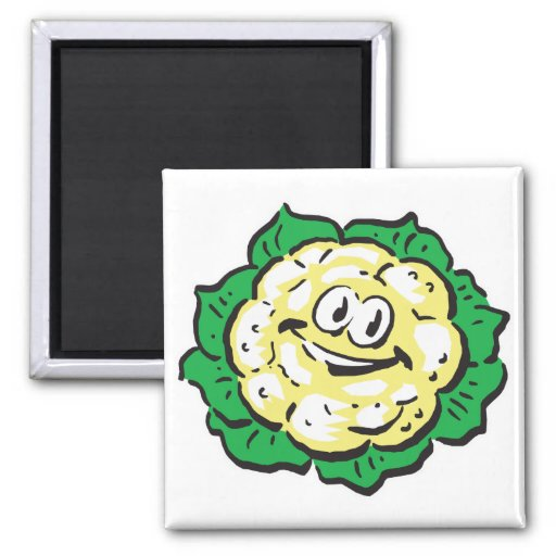 happy face cauliflower refrigerator magnets