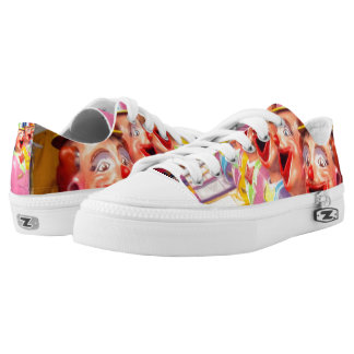 Happy Face Clowns, Lowtops, Zipz Sneakers. Printed Shoes