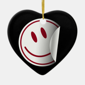 Happy Face Double-Sided Heart Ceramic Christmas Ornament