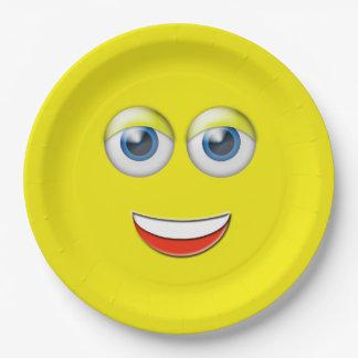 Happy Face Emoji 9 Inch Paper Plate
