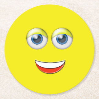 Happy Face Emoji Round Paper Coaster