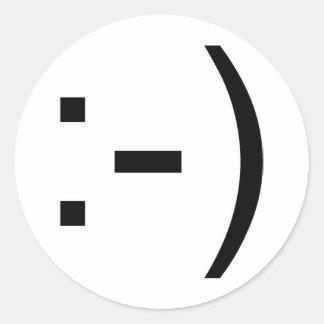 Happy face emoticon! round sticker