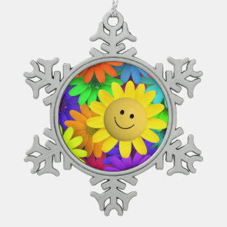 Happy face Flower Snowflake Pewter Christmas Ornament
