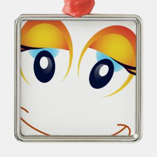 happy face Silver-Colored square decoration