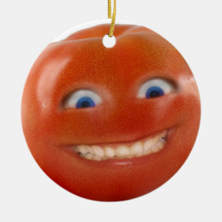 Happy Face Smiling Tomato Round Ceramic Decoration