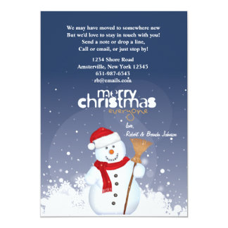 "Happy Face Snowman Holiday Moving Announcement 5"" X 7"" Invitation Card"
