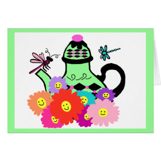 Happy face tea pot with dragonflies blank card