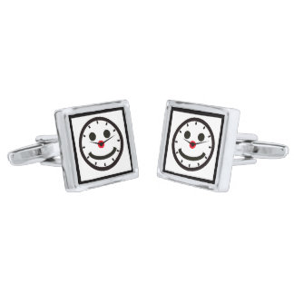 Happy Face Time - Clocked Silver Finish Cuff Links