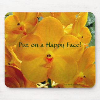 Happy Face Yellow Orchids Mouse Pad