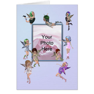 Happy Fairies Photo Birthday Card