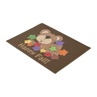 Happy Fall bear door mat