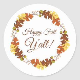 Happy Fall Classic Round Sticker