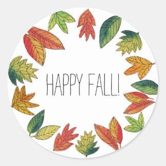 Happy Fall Foliage Classic Round Sticker