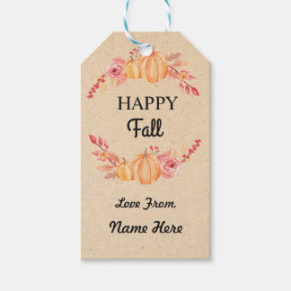 Happy Fall Harvest Festival Gift Tags Pumpkin Tag