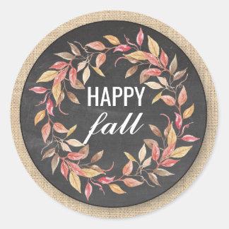 Happy Fall Harvest Festival Leaf Wreath Sticker