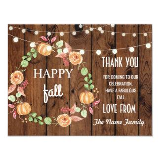 Happy Fall Harvest Festival Pumpkin Thank you Card