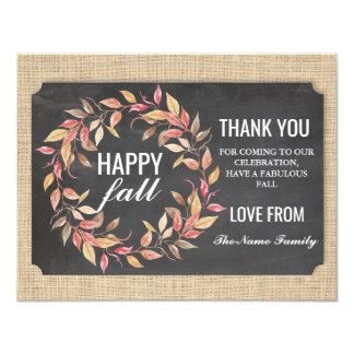 Happy Fall Harvest Festival Thank you Card Chalk