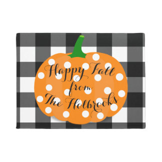 Happy Fall Pumpkin and Gingham Door Mat