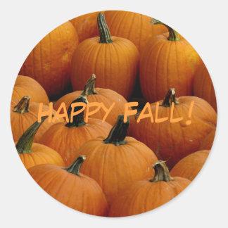 Happy Fall, pumpkins Classic Round Sticker