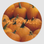 Happy Fall, pumpkins Round Stickers